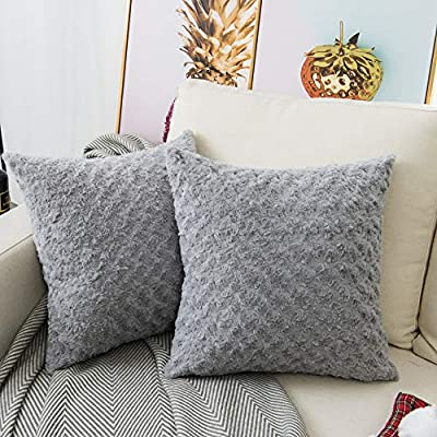 LANANAS Luxury Soft Plush Faux Fur Throw Pillow Covers for Couch Decorative Mongolian Fur Throw Pillow Covers Pack of 2