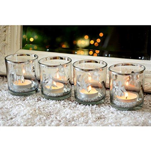 INtrenDU Teelichthalter Set Christmaslife Silber Teelichter Windlicht Glas Weihnachten