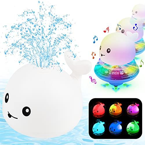 ENJSD Kinder Schwimmende 2 in 1 Badespielzeug Baby Wasserspielzeug Automatische Induktions Sprinkler Wal mit Licht und Musik, Babyspiel Wasserbad Spielzeug für Baby...