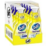 Biff Bad Total Spritzige Zitrone, Badreiniger, 8 x 750 ml, Sprühflasche, für alle Oberflächen und hygienische Sauberkeit