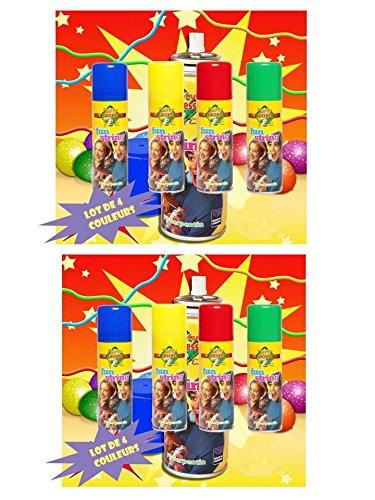 Lot de 8 bombes de fil serpentins coloré : 2 rouges, 2 bleues, 2 vertes et 2 jaunes