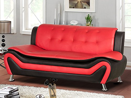 Container Furniture Direct Arul Leather Air Upholstered Mid Century Modern Sofa, 77.5' Black/Red