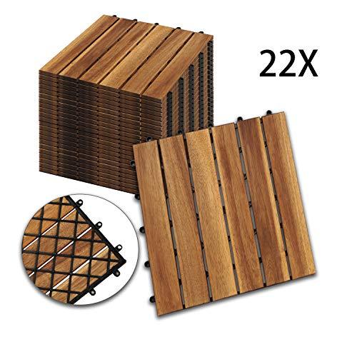 Hengda Holzfliesen 22-er Kachel Set,2m², geeignet als Terrassenfliesen und Balkonfliesen, aus Akazien Holz, 30x30 cm, für Garten Terrasse Balkon