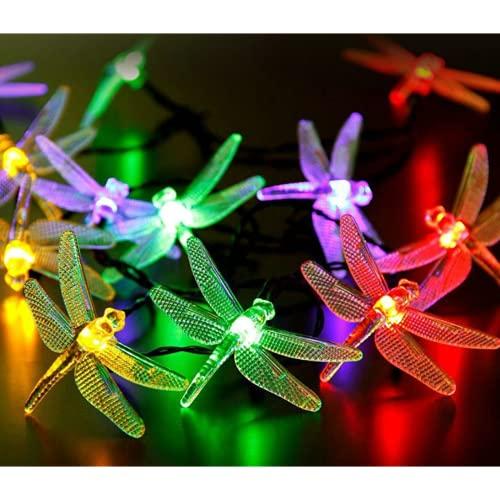 Wandskllss Luces De Navidad Solares Para Exterior Libélula Tira Led Impermeable Para Campistas Al Aire Libre Luces Para Árboles De Navidad Colorido 6,5M