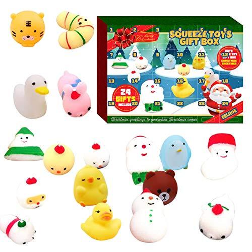 TOMATION Adventskalender 2020 Mochi Squishy Adventskalender Countdown Adventskalender Mit 24Pcs Cute Mochi Animals Squishy Toy Spielzeug Zusammendrücken Erwachsene Kinder