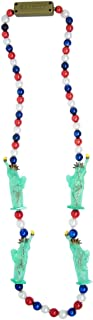 Patriotic Beaded Light Up Necklace with Statue of Liberty, Red, White, and Blue Beads, 40 Inch