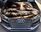 Stikka Vinyl Car Hood Full Color Graphics Decal Horror Fear Frankinstein Hands Sticker 54'x65' (137cm x 165cm)