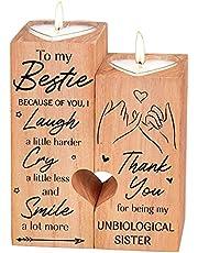 Hjärtformad ljusstake jul-alla hjärtans dag födelsedag årsdag träljushållare – hjärtformad ljushållare to my bestie ljusstake med ljus present till bästa vän (zu my beststie)