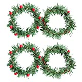 Eselltotal Set of 4 Christmas Wreaths with Red Berries and Pine Cones Artificial Christmas Wreath Candle Ring Table Decorations Centerpieces