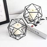 JUNGEN 2er Set 3D Geometrisch Kerzenständer Kerzenhalter Metall Vintage Kerzenständer Teelichthalter Deko Tischdeko für Hochzeit Weihnachten Wohnzimmer, 13 × 10 cm(Schwarz) - 4