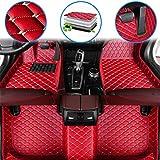 Fußmatten für 99% Automodelle Fussmatten rutschfeste Abnutzung Bodenmatten-Leder Material Automatten Teppiche (Rot)