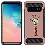 [NickyPrints] Hybrid Case For Galaxy S10 - Giraffe Hipster Design Printed with Embossed Effect - Unique Dual Layer Full Protection Shockproof Galaxy S10 -  Rose Gold  Case / Cover