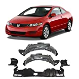 Autoelementss New Front Fender Liners with Pad Right Passenger & Left Driver Side + Engine Under Cover Splash Shield for 2006-2011 Honda Civic Direct Replacement 74101SNAA00 74151SNAA00 74111SNAA00