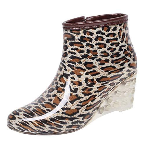 LoveLeiter Gummistiefel Regenstiefel Kurzschaft Stiefel Blockabsatz Chelsea Boots Mode Muster Rain Schuhe Stiefeletten Halbschaft mit Reißverschluss für Schnee und Regen