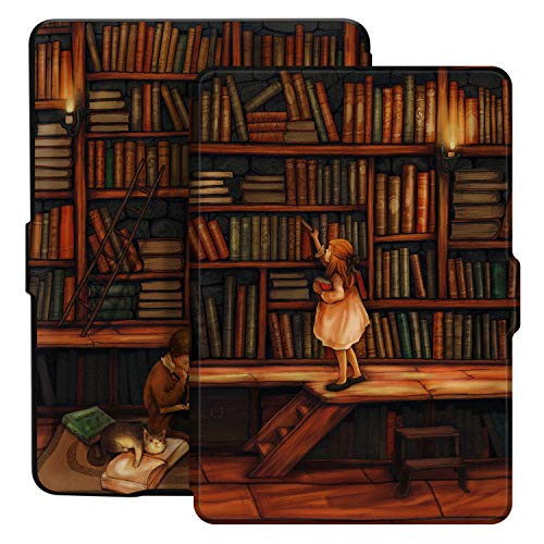 Ayotu Custodia per Kindle Paperwhite E-Reader Auto Sonno/Sveglia Cover Protettiva, Adatta a Tutte Le Versioni del 2012, 2013, 2015 e 2016 Kindle Paperwhite, Serie di verniciature K5-09 The Library