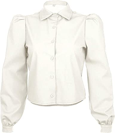 Mujer Camiseta de Cuero - Manga Larga Blusa con Botones Moda ...