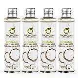 Tropicana Oil Aceite de Coco Premium 100% Orgánico Virgen Extra 4x50 ml | Para la Salud, Pelo, Piel y Cuidado Corporal y Cocinar |Crudo y Prensado en Frío, Hecho del Coco Completo |100% Vegano