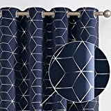 Vangao Blackout Curtains for Bedroom Thermal Insulated Window Drapes for Living Room Foil Print Geometric Pattern Navy Blue Curtains 63 Inch Length 2 Panels
