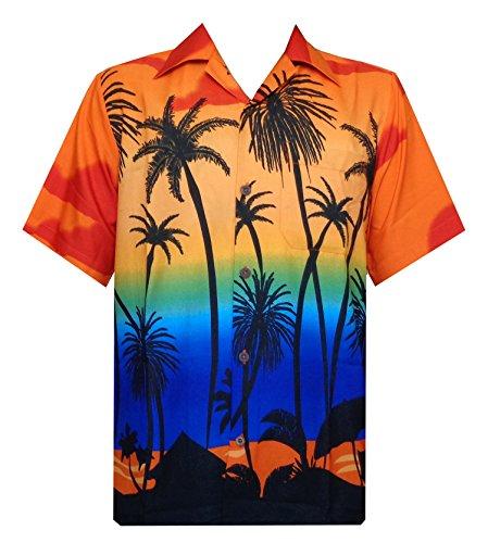 Hawaii-Hemden für Herren, tropische Palmen, bedruckt, Aloha, Urlaub, Strand, kurzärmlig - Orange - Groß