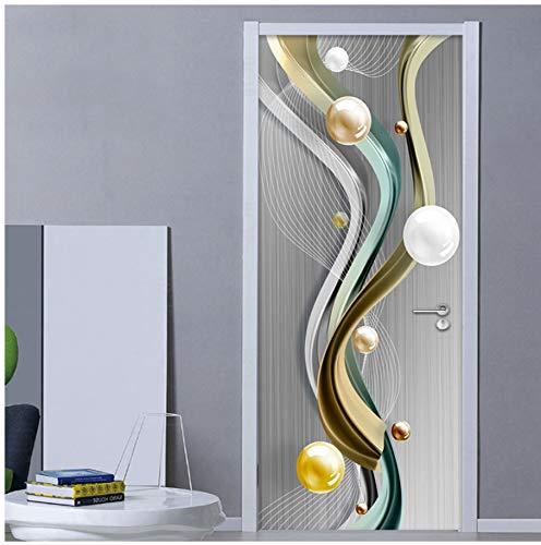 kasup PVC Autoadhesivo Pegatina para Puerta 3D Creativo círculo geométrico Bola Mural Papel Tapiz Sala de Estar Dormitorio Puerta Pegatinas calcomanías de Pared