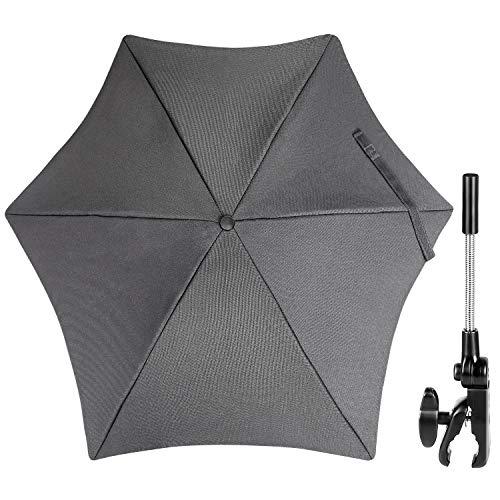 ZJRIGHT Universal Sonnenschirm Sonnenschutz für Kinderwagen & Buggy - UV Schutz 50+ / 71 cm Durchmesser - Biegsamer Schirm mit Universalhalterung für Rund- und Ovalrohre - Hellgrau