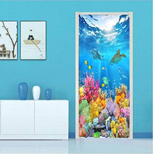 geen merk 3D Deur Mural De Onderwater Wereld Deur Stickers Voor Woonkamer Slaapkamer Pvc Lijm Behang Home Decor Waterdichte Mural Decal.77X200Cm