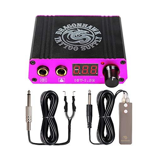 Dragonhawk LCD Dual Tattoo Machine Gun Power Supply Foot Pedal Clip Cord P078 (Pink)