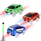 Tracks Cars Replacement only, Toy Cars forMost Tracks Glow in The Dark, Racing Car Track Accessories with 5 Flashing LED Lights, Compatible withMost Tracks for Kids Boys and Girls(3pack)