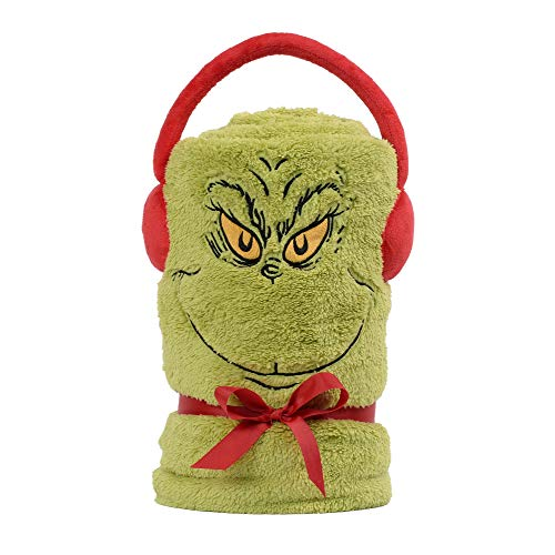 Department 56 Snowpinions Grinch SnowThrow Holiday Fleece Blanket, 60 Inch, Multicolor