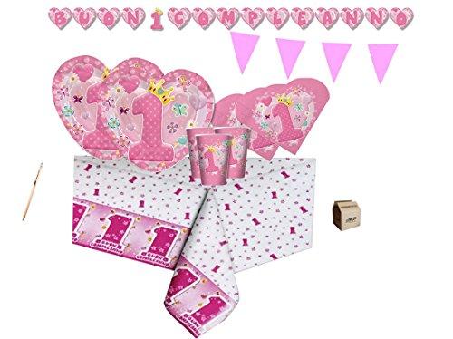 Big Party IRPot - Kit N 17 Coordinato 1 Anno Cuore Rosa Primo Compleanno Bambina Heart