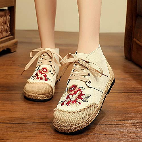 Jskdzfy Ladies embroidered shoes Handmade Women Linen Cotton Loafers Espadrilles Flower Embroidered Ladies Casual Flat Platform Sneakers Shoes (Color : Model 2 Beige, Size : 6.5)