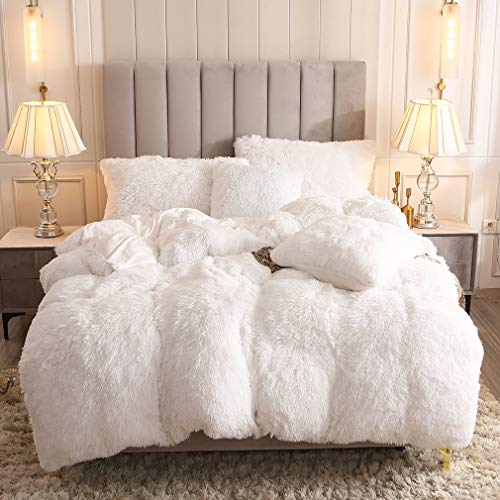 Uhamho Faux Fur Velvet Fluffy Bedding Duvet Cover Set Down Comforter Quilt Cover with Pillow Shams, Ultra Soft Warm and Durable (White, Queen)