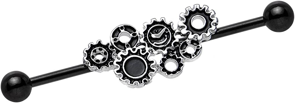 Body Candy Black Plated Stainless Steel Steampunk Gears Helix Earring Industrial Barbell Piercing 14 Gauge 36mm