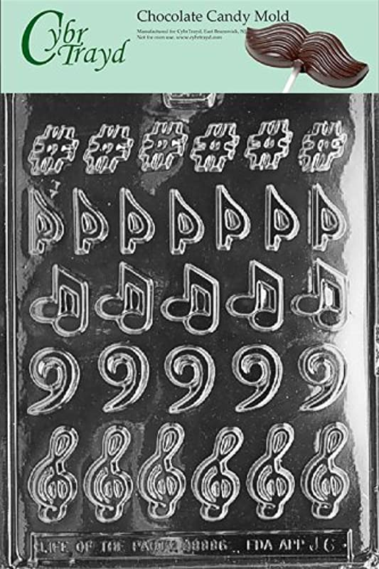 Cybrtrayd Life Of The Party J006 Music Clef Sharp Flat Chocolate Candy Mold In Sealed Protective Poly Bag Imprinted With Copyrighted Cybrtrayd Molding Instructions