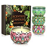 Kikc Scented Candles Gift Set, 4 Cans Made of 100% Natural Soy Wax with Essential Oils for Stress Relief, 4 Fragrances Use for Aromatherapy, Bath, Yoga, Perfect for Christmas, Birthday, Mother's Day
