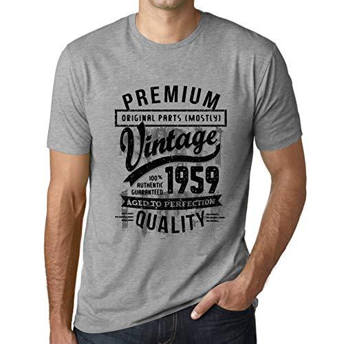 Ultrabasic - Uomo Maglietta 1959 Aged To Perfection T-Shirt - Regalo di Compleanno per 61 Anni Grigio Chiazzato