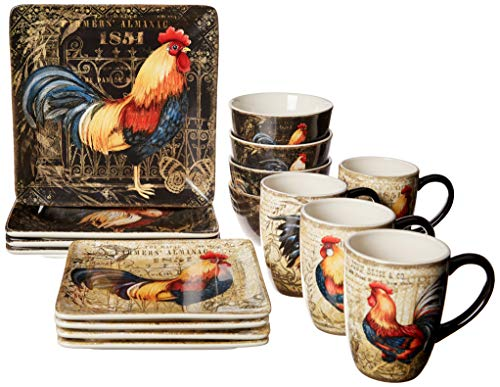 Certified International Gilded Rooster Dinnerware.Tabletop, One Size, Multicolor