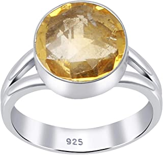 Yellow Citrine 3 Ct Round 925 Sterling Silver Engagement Ring Valentine's Gifts For Girls By Orchid Jewelry