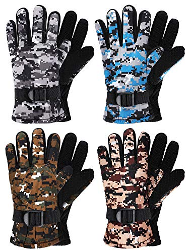 4 Pairs Kids Winter Snow Waterproof Warm Ski Gloves Unisex Camouflage Gloves for Cold Weather Children (Yellow, Green, Blue, Grey, for 6-12 Years Old)