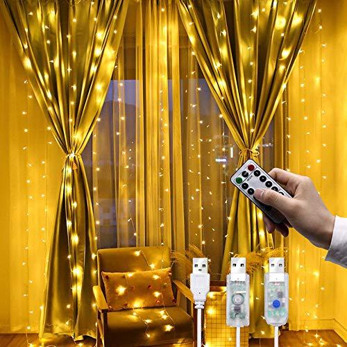 d.Stil LED Lichterketten Lichtervorhang USB Vorhanglichter String Light 8 Modi mit Fernbedienung Timer IP43 für Weihnachten Innen und außen Deko, Warmweiß