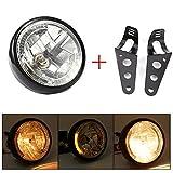 7inch Universal Motorcycle Motorbike Headlight 35W H4 Halogen Bulb Yellow LED Headlight with Black Bracket Fit for Suzuki Harley Kawasaki ATV etc.Motorcycles