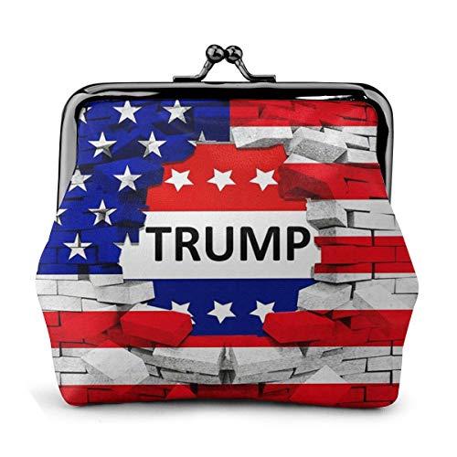 Süße amerikanische USA-Trump-Flagge Schnalle Münzbörse Vintage Beutel Kiss-Lock Geldbörse Geldbörse Geschenke für Frauen Reise Make-up, Weiá (Amerikanische USA Trump Flagge), Einheitsgröße