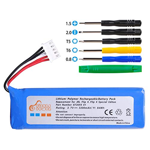 Pickle Power Replacement Battery for JBL Flip 4 and Flip 4 Special Edition Portable Bluetooth Speaker, fits JBL GSP872693 01(3200mAh 11.84Wh)