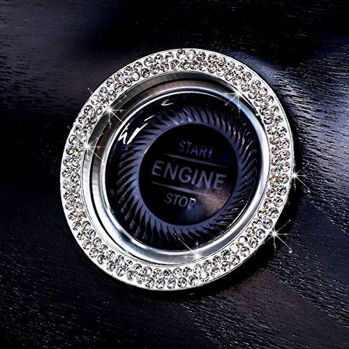 Unicorn Bling Ring for Car Push Start Button Ring Accessories - New 2020 Style - Double Line Rhinestone Diamonds Easy Apply Sticker for More Bling Interior Car Decor Gifts for Women (Silver)