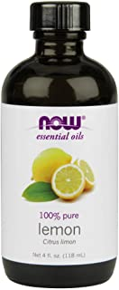 NOW Essential Oils, Lemon Oil, Cheerful Aromatherapy Scent, Cold Pressed, 100% Pure, Vegan, 4-Ounce