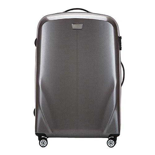 Stabiler Reisekoffer Großer Koffer Trolley von Wittchen Material polycarbonat 4 Lenkrollen Zahlenschloss 4.8KG Kapazität 85 L Farbe Grau