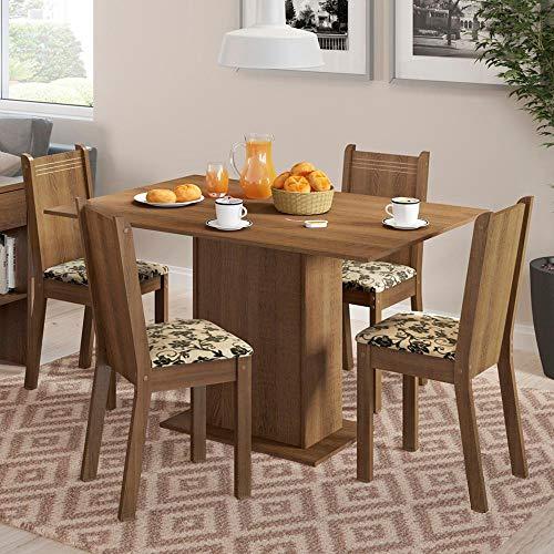Conjunto Mesa de Jantar e 4 Cadeiras Rustic-Floral Lexy Madesa
