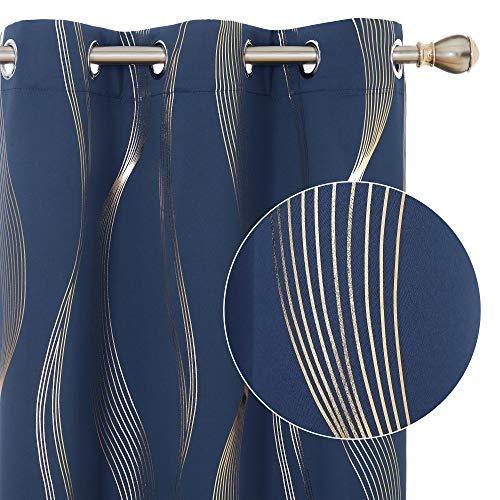 Deconovo Blackout Curtains Wave Striped Foil Golden Printed Room Darkening Grommet Blackout Curtain for Bedroom 42x84 Inch Navy Blue 2 Panels