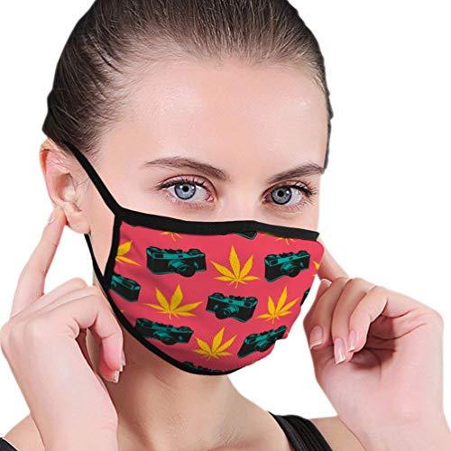 Xuwei decorativo con hojas de marihuana amarillas y cámara vieja en rosa para adultos luz Ear-Hook máscara al aire libre, adecuado para deportes, compras, pesca, equitación, viento y calor, et