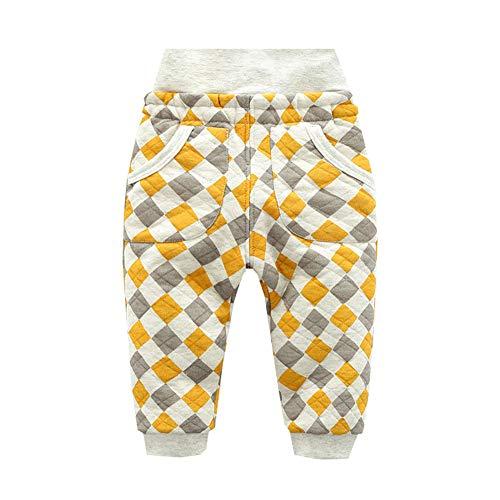 ALLAIBB ALLAIBB Kleinkind scherzt warme Starke Herbst-Schlafhose warme hohe Taillen-Pyjamaunterseite 1-4T Size 90 (Gelb)